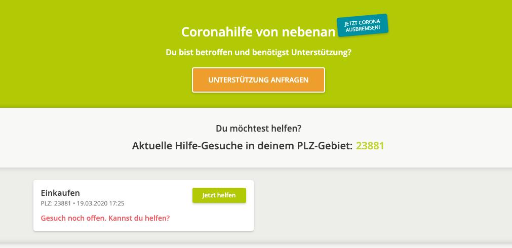 Screenshot von nebenan.de-Hilfeseite