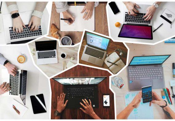 Verschiedene Tischoberflächen von oben mit vielen Laptops und Online-Arbeitenden, zusammengesetzt als Bruchstück-Puzzle